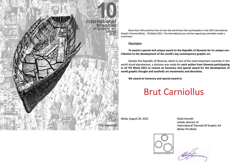an honorary and special award at 10 International Triennial Of Graphic Art Bitola - ITG Bitola 2021