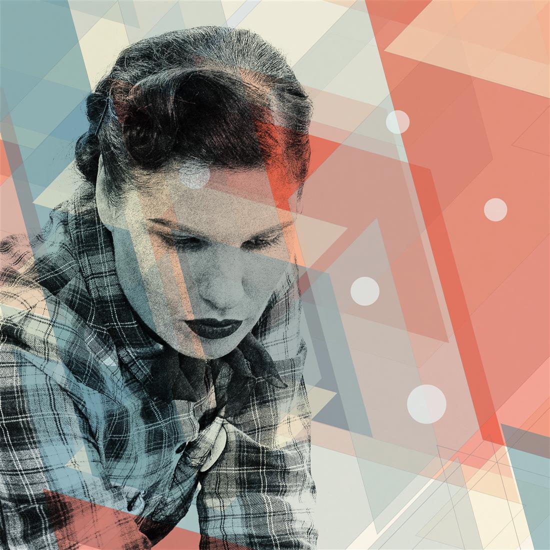 from geometric portraits, digital collage, 100x100cm, 2020