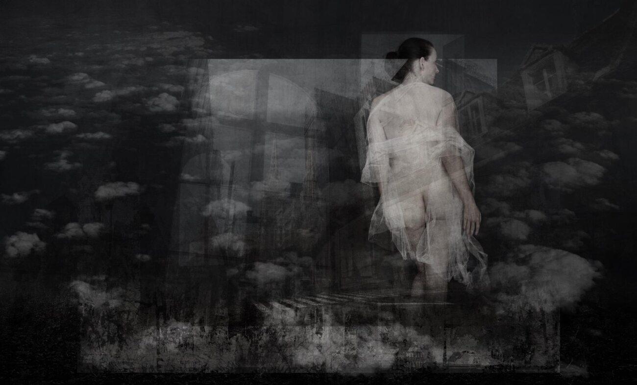 the door between worlds, digital collage, original digital UV print up to 145x240cm, 2021